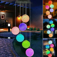 More details for colour changing hanging wind chimes solar powered led ball lights garden outdoor