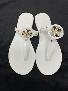 Tory Burch WOMEN Mini Miller Flat Thong Jelly Sandals White Gold Size 7 NEW