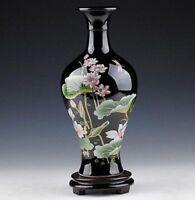 ORIENTAL CHINESE HAND-PAINTED BLACK LOTUS FLOWERS VASE