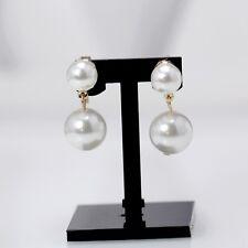 earrings CLIP ON Golden Double Pearl White Class YW8