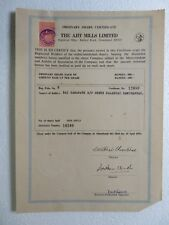 Vtg 19574 Share Certificate Ajit Mills Ltd India Corporate Documents Autograph