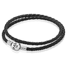 GENUINE PANDORA SILVER AND BLACK DOUBLE BRAIDED LEATHER BRACELET 590705CBK /41CM