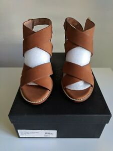 Womens SABA brown leather Joyce Heel Sandal with straps size 37 (new)