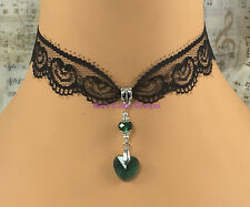 black lace choker necklace green glass heart pendant goth vintage pagan wicca