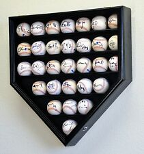 30 Baseball Home Plate Display Case Wall Cabinet Holder - Lockable -Ultra Clear