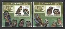 Comoros 2009 Sc#1087c,e Type  Owls  MNH Imperf Mini Souvenir Sheets