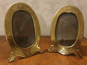 Original Arts And Crafts  Oval Brass Picture Frames With Copper Backs