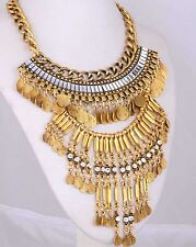 Fashion Crystal Statement Ethnic pendant Chain Gold Filled ancient Necklaces 75