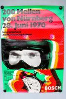 Poster 200 Meilen Nürnberg Norisring 1970 Poster Rennsport Plakat Bosch ADAC