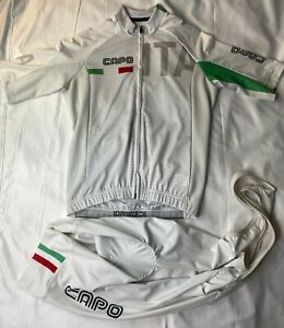 Capo Cycling Jersey & Bib Shorts - White  - Sz: Med - Made in Italy - RACE CUT