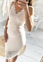 White Lace V Neck Midi Bodycon Pencil Wiggle Evening Summer Party Dress UK 10 12