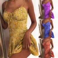 Women Floral Printed Sleeveless Mini Dress Vest Summer Boho Beach Sundress NEW'