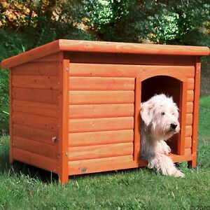 Wooden Dog Kennel Large including Folding Roof Protect from Cold and Wet