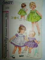 Dress Panties Pinafore Easter Simplicity Sewing Pattern 3807 Girls 1/2 Vtg 60's