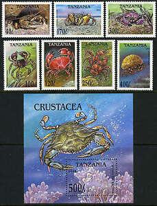 Tanzania 1295-1301,1302 S/s, MI 1923-1930, Bl.269, MNH. Crabs, 1994
