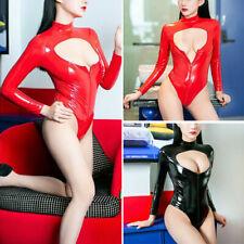Sexy Women Latex Leather Romper Bodycon Bodysuit Jumpsuit Zipper Leotard Catsuit