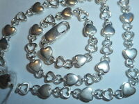 TIFFANY & CO. Vintage Open & Closed Heart Sterling Italy CHOKER NECKLACE Unused