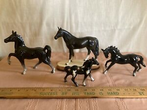 Vintage Horse figurines (4 ) Black 1950-60
