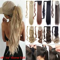 18''/22'' Curly Wavy Long Straight Hair Extension Wrap Around Ponytail Hairpiece