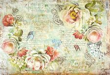 Rice Paper -Roses and Gearwheels- for Decoupage Decopatch Scrapbook Craft Sheet