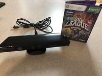 Microsoft Xbox 360 Kinect Motion Sensor Bar Black w/Big League Sports-bundle