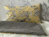 "12 X 20 '"" JOHN LEWIS  Fabric Nightingales YELLOW Cushion Cover Birds"