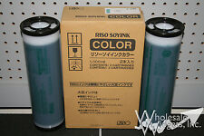 2 Genuine Riso S-4398 Teal Ink OEM Risograph GR RC RA FR RP RN RP3700 OEM S4398