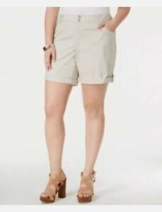 INC Plus Size Cuffed Stretch Cotton Khaki Shorts 16W Toad Beige NWT NEW
