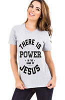 LIVING WATER t-SHIRT POWER IN THE NAME OF JESUS christian FAITH TEE WOMEN'S GRAY
