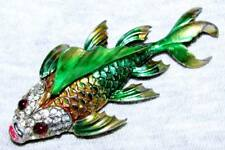VINTAGE c1940 CHANEL NOVELTY CO METALLIC ENAMEL RHINESTONE KOI FISH TREMBLER PIN