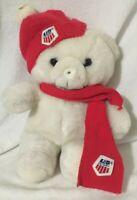 Vintage US Ski Team Teddy Bear Plush Commonwealth 1986 White Stocking Hat Scarf