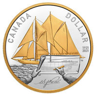 2021 Canada 100th anniversay Bluenose goldplated 99.99% Silver dollar