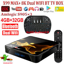 X99Max+ 8K Android 9.0 4+32G TV BOX Keyboard Dual WIFI BT4.1 Quad Core 3D Movies