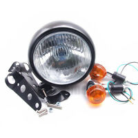 Motorcycle Retro Front Headlight Black Metal +Mount For GN125 Cafe Racer Bobber