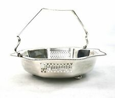 Vintage Silver Plated Fruit Bread Basket Swing Handle Four Footed Beaded Border