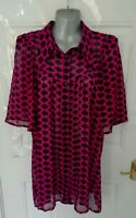 ❤ GEORGE Size 18 Black Pink Semi Sheer Button Up Puff Sleeve Blouse Top