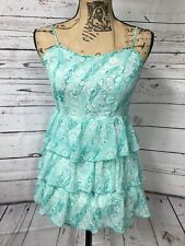 Aeropostale size XS/TP aqua floral print spaghetti strap ruffled bottom dress