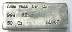 Vintage 50oz Troy Ounce .999 Fine Silver Poured Bar Amer Gold Dep Corp