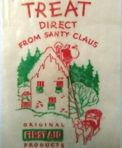 Vintage Santa Claus Christmas Treat Bag Glassine Give Away Candy Small Toy 1940s