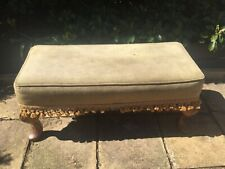 "VINTAGE LARGE RECTANGULAR VELVET FRINGED WOOD LEG FOOTSTOOL 29"" X 12"" TOP"