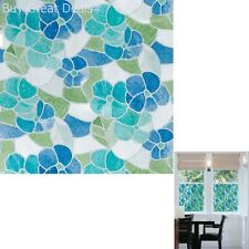 Blue/Green Stained Glass SelfAdhesive Design Shower Door Mirror Window Wall Film