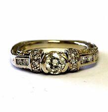 14k white yellow gold round half set bezel .76ct diamond engagement ring 6.0g