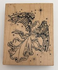 PSX Large Rubber Stamp Christmas Holiday Angel Harp Wings Spread K-1332 Used