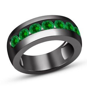 1.30 Carat Green Round Sapphire 14K Black Gold Fn Man Designer Engagement Ring