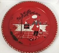 Antique 1950's Large Red Metal Tray Marcelline Stoyke BBQ Barbecue Barbeque