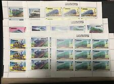 MONGOLIA 1996 TRAINS 9 S/S ( 81 STAMPS ) MNH VERY HIGH SCOTT VALUES