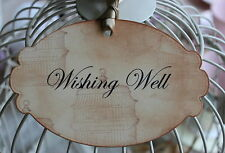 WISHING WELL-Sign-Tag-Label-Vintage Birdcage-Beautiful-Unique-Vintage Style