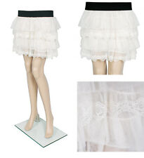 Creamy White Elastic Waist Cute Mini Skirts Sexy Lace Skirts One Size Fit Most