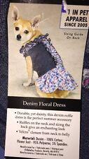 ZACK & ZOEY Denim Floral Dog Dress Size Small / Medium NWT