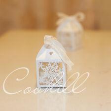 50x Snowflake Laser Cut Candy Gift Boxes W/Ribbon Wedding Favors Baby Shower Box